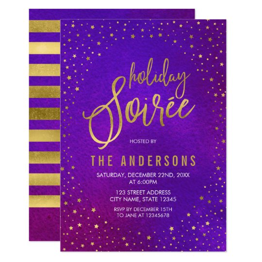 faux gold starry purple watercolor holiday soiree invitation