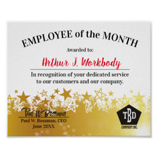 Faux gold stars employee of the month certificate poster