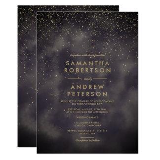 Faux gold stars grey batik watercolor wedding card