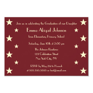 Faux Gold Stars School Graduation Party Invitation