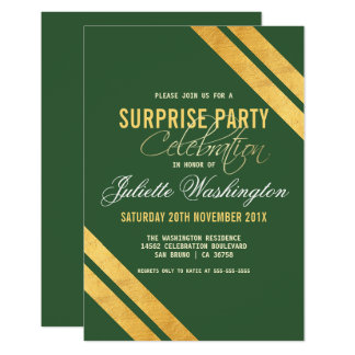 Faux Gold Strip Dark Green Surprise Birthday Party Card