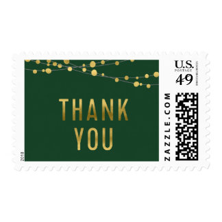 Faux Gold Thank You Lights with Green Background Postage