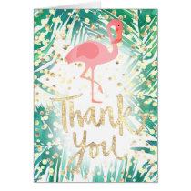 faux gold thank you script flamingo on palms