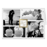 Faux Gold Thank You Wedding 4 Photo Card