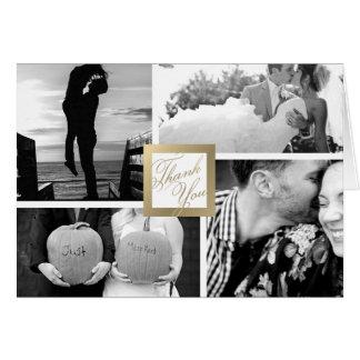 Faux Gold Thank You Wedding 4 Photo Card