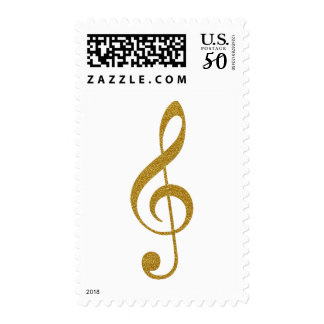 faux gold treble clef music postage