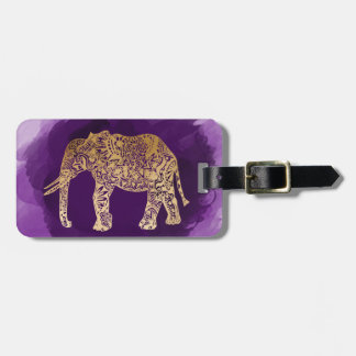 faux gold tribal elephant purple brushstroke luggage tag