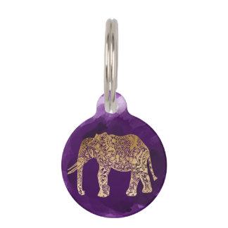 faux gold tribal elephant purple brushstroke pet ID tag