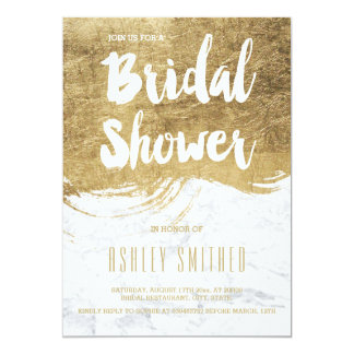 Faux gold typography brush marble bridal shower card