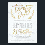"Faux gold typography feathers marble 21st Birthday Invitation<br><div class=""desc"">Faux gold foil typography marble 21st Birthday A modern 21st Birthday party invitation with this modern, simple, elegant and chic faux yellow gold brush hand lettering typography on a white modern marble background. Perfect for simple, elegant and modern grad party. If you need any text changed and customized don't hesitate...</div>"