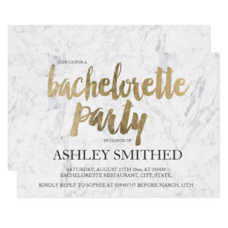 Faux gold typography marble bachelorette party invitation