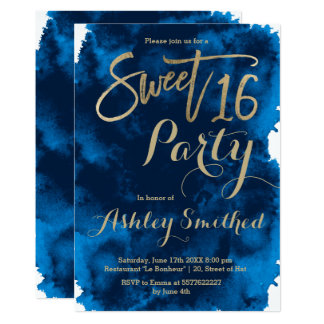 Faux gold typography navy blue watercolor Sweet 16 Card