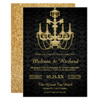 Faux Gold Vintage Chandelier Wedding Invitation
