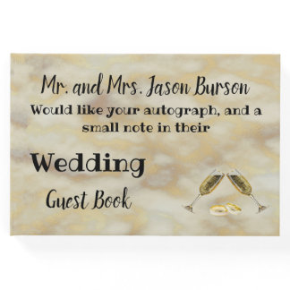 Faux Gold Wedding Guest Book