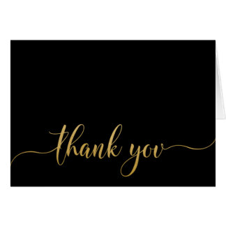Faux Gold Wedding Thank You Typography Stationery Note Card