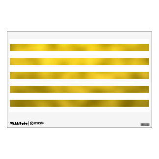 Faux Gold White Horizontal Stripes Striped Ribbon Wall Sticker