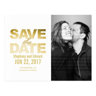 Faux Gold White Save the Date Photo Postcard