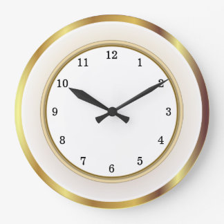 Faux Gold White Trim Arabic Numbers Large Clock