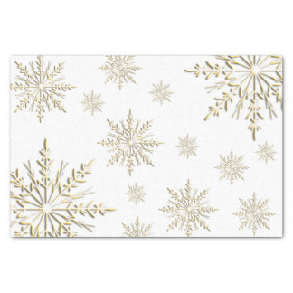 Faux Gold Winter Snowflakes on White Tissue Paper