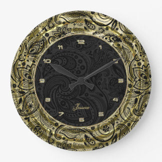 Faux Gold With Black Paisley & Background Wall Clock