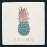 """Faux Gold with Blue and Purple Pineapple Aloha Stone Coaster<br><div class=""""desc"""">These stylish coasters feature a pineapple colored with a blue and purple watercolor look,  and faux gold accents. The word &quot;aloha&quot; also appears in gold.</div>"""