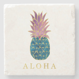 Faux Gold with Blue and Purple Pineapple Aloha Stone Coaster