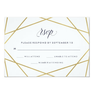 Faux Gold with Midnight Blue Text Wedding RSVP Card