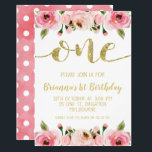 "Faux Gold Word 1st Birthday Party Invitation<br><div class=""desc"">This sweet girl&#39;s first birthday invitation features a large faux gold glitter word and a watercolor floral arrangement at the base and top of the design. The back of the invitation is a faux watercolor wash with a white polka dot pattern. More 1st birthday invitations are available at the store....</div>"