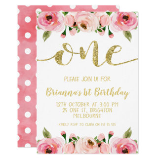 Faux Gold Word 1st Birthday Party Invitation