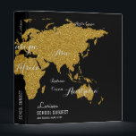 """faux gold world map binder for geography lessons<br><div class=""""desc"""">A nice  and feminine faux gold map of the world,  with its continents and sea,  and with your own name...  for geography lessons or any other special subject</div>"""