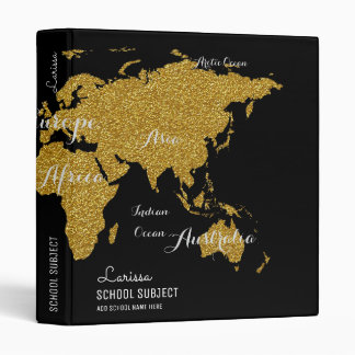 faux gold world map binder for geography lessons