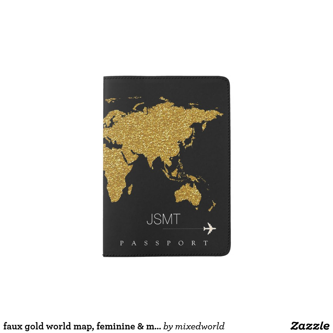 faux gold world map, feminine & modern travel passport holder