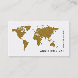Faux Gold World Map Travel Agent On White Option Business Card