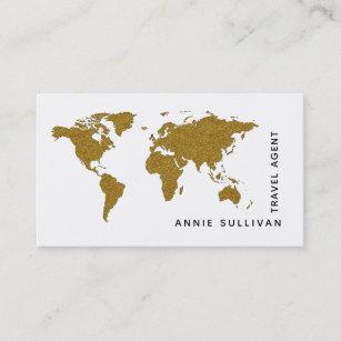 Travel agent business cards zazzle faux gold world map travel agent on white option business card colourmoves