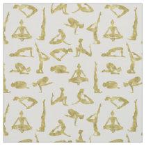 Faux Gold Yoga Silhouettes Fabric
