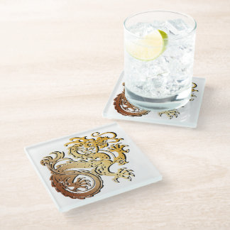 """Faux Golden Dragon for """"Fire/South"""" Glass Coaster"""