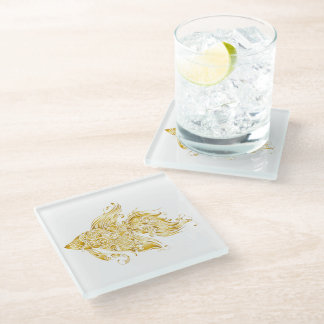 """Faux Golden Fish for """"Water/West"""" Glass Coaster"""