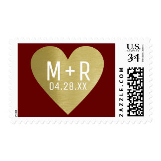 faux golden love heart + bride & groom initials postage