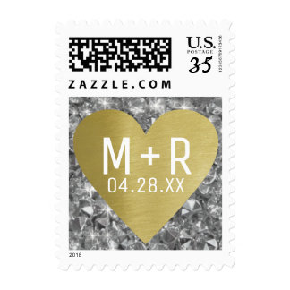 faux golden love heart + diamonds wedding postage