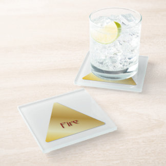 """Faux Golden Symbol """"Fire/South"""" Glass Coaster"""