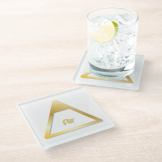 """Faux Golden Symbol for """"Air/East"""" Glass Coaster"""