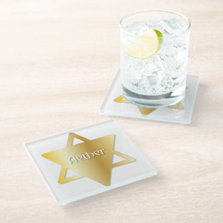 "Faux Golden Symbol for Center ""Aether"" Glass Coaster"