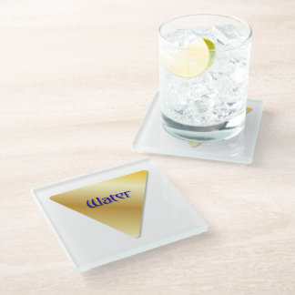 """Faux Golden Symbol """"Water/West"""" Glass Coaster"""