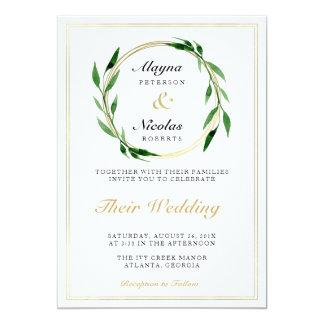Faux Golden Wreath Wedding Invitation