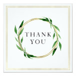 Faux Golden Wreath Wedding Thank You Card
