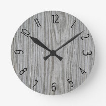 Faux Gray Wood Paneling Round Clock