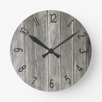 Faux Gray Wooden Board Round Clock