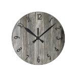 Faux Gray Wooden Board Round Clocks