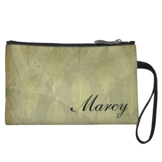 Faux Green Foil Leaves on Parchment, Personalized Wristlet Wallet