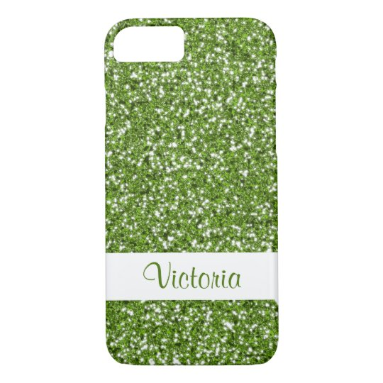 Faux Green Glitter Pattern Look-like With Name iPhone 8/7 Case